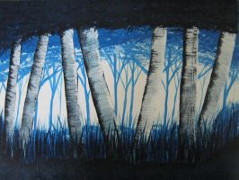 Birches (Blue) by Art-By-Mark