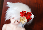 Fox Momiji Ume (Maple and Plum) Kanzashi for BJD by hanatsukuri
