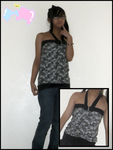 Black+W floral halter neck top by mashimaroROCKS