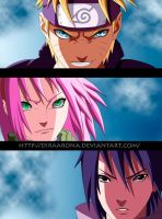 Naruto 632 - Team 7 reunited! by Diraarona