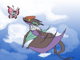 Noivern and Vivillon by MoeRenai