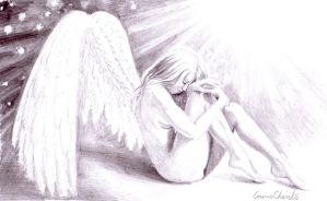 Sad lonely broken angel crying by CORinAZONe