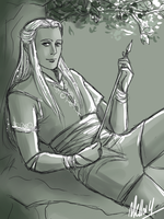 Haldir sitting on a branch by MellorianJ