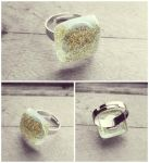 Golden Stardust Square Handmade Resin Silver Ring by crystaland