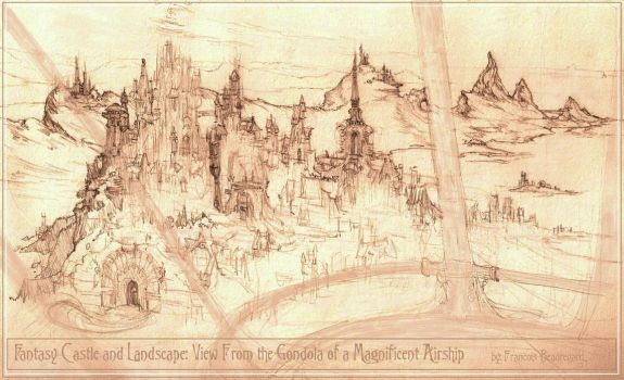 View of Fantasy Castle and Landscape From Airship by Built4ever