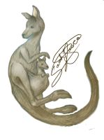Kangaroo and Joey tattoo design for Elizabeth by Nativa-Basco
