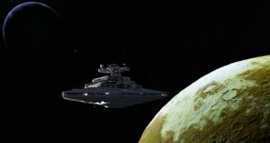 The ISD Nemisis departing Alcyone system by xwade