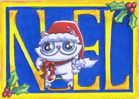 Funny cat ACEO noel by KingZoidLord