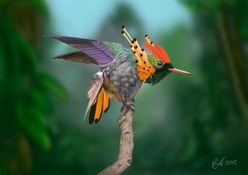 Tufted Coquette Hummingbird (Digital Painting) by Rick-Lilley