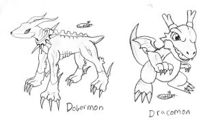 Dobermon and Dracomon by Carlie-NuclearZombie