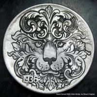Hand Engraved Ornate Scrollwork Lion Coin by Shaun by shaun750