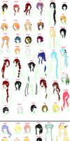 hairstyles of my charachers by oOLittlePinkyOo