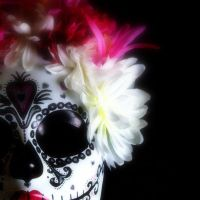 Sugar Skull Mask in Pink and Black by LilBittyFish