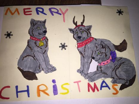 Wolf Christmas card I made ( inside ) by WolfLoverPro