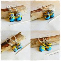 Minion 925er silver Earrings Commission by oOMetalbrideOo