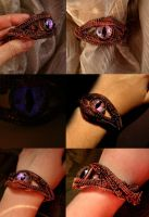 Copper Steampunk Violet Dragon Eye Bracelet by LadyPirotessa