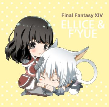 FFXIV - chibi Ellice and F'yue by akane-n-candy