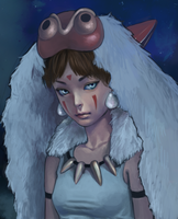 Redrawn Princess Mononoke by asyuumi