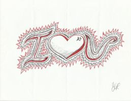 I Love you pen sketch by VerseaPetrova
