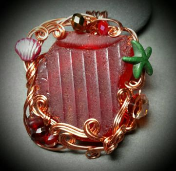 Custom Red Sea Glass Pendant by sojourncuriosities