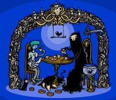 Tea with Death and his pets by mtomsky