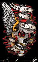 Winged Skull Tattoo T-Shirt Design by Sam-Phillips-NZ