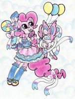 Pinkie Pie and Sylveon by Matsuban