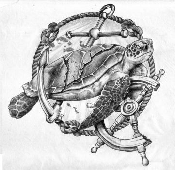Sea Tortoise Tattoo Design by GriffonGore