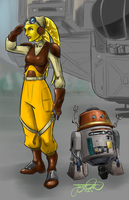 Rebels, Hera and Chopper by TheJarett