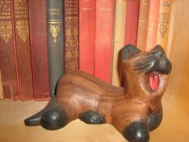 Yawning Wooden Cat by Shallow-Heart-Break