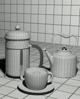 3D French Press and coffee 01 by otas32
