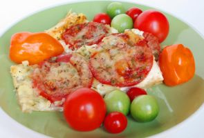 Tomato and Cheddar Tart by Kitteh-Pawz