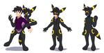 Comission: living Umbreon suit TF by KeldeoBoy