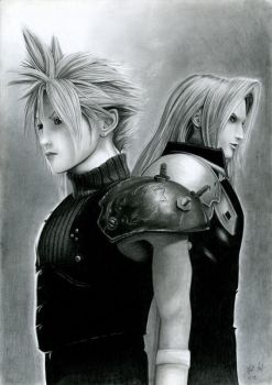 Cloud and Sepiroth from FF VII by watracz