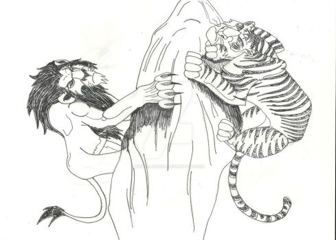 Lion vs Tiger- Inked by VampLord2010