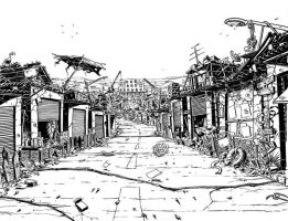 hell town double page spread by mister-bones
