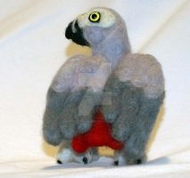 Felted African Grey Back Side by The-GoblinQueen