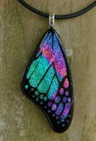 Teal Mix Glass Butterfly Wing by FusedElegance