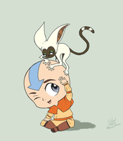 Aang and Momo - day 72 by Silent--Haze