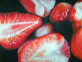 Sliced strawberries close up by Heathen17