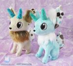 Horned Fox Plushies by dollphinwing