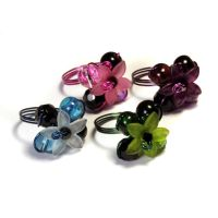 4 Flower rings bundle - Blue Purple Green Pink by CatherinetteRings