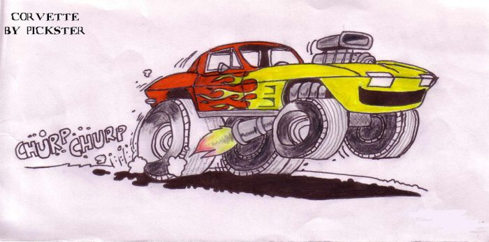 Corvette Drawing by pickster