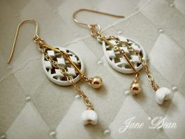 Enamel charm chain earrings by janedean