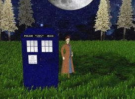 Dr Who David Tennant outside tardis oil painting by LokiLaufeysen