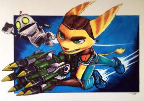 Ratchet and Clank - Copic Marker Drawing by LethalChris