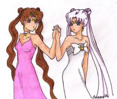 Queen Serenity and Queen Eos by Rabbit-of-the-Moon