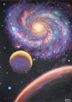 Two planets and a galaxy by CORinAZONe