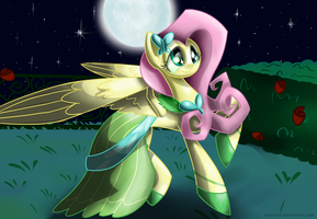Fluttershy in Grand Galloping Gala dress by Wojtovix