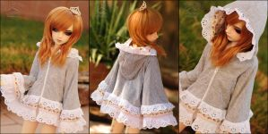 Roses and Lace Hooded Fashion Poncho by kuroi-carousel